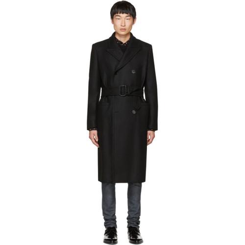 SAINT LAURENT Black Db Military Coat