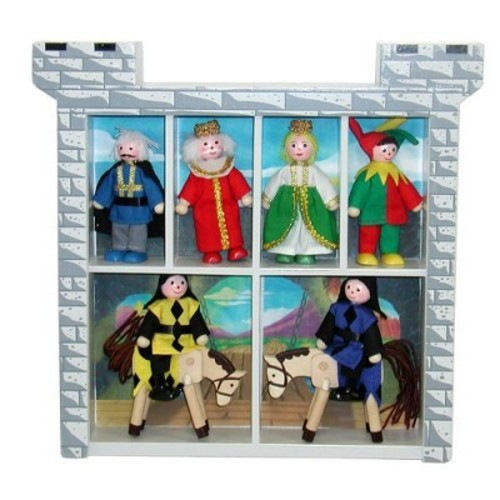 Melissa & Doug Castle Poseable Wooden Doll Set (8 pcs) for Castle and Dollhouse (3-4 inches each)