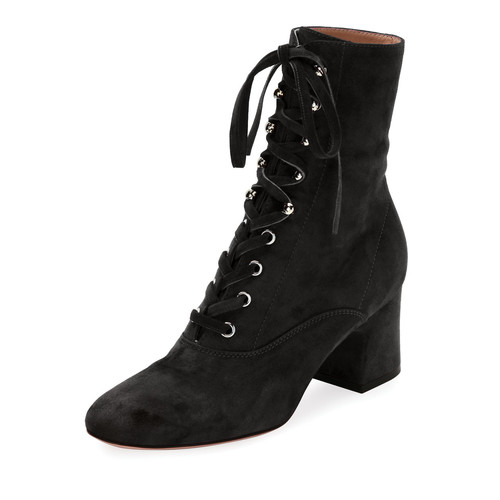 GIANVITO ROSSI Suede Lace-Up Block-Heel Boot
