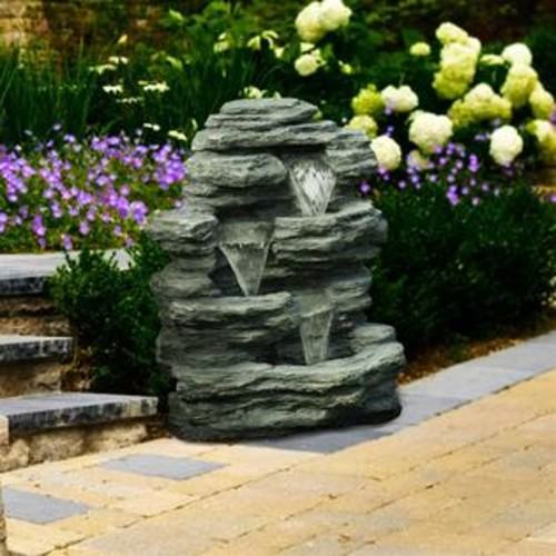 Pure Garden Cascade Rock Outdoor Fountain