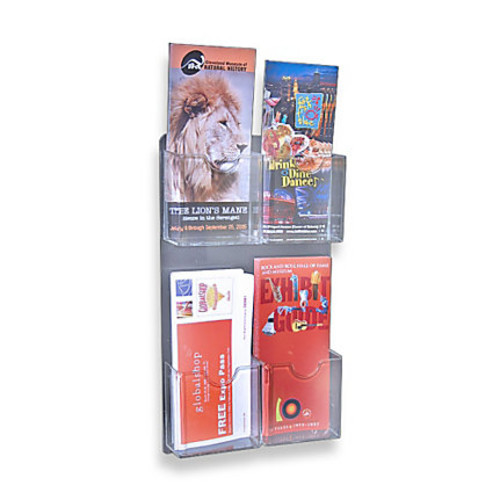 Azar Displays Wall-Mount Brochure Holders, 4 Pockets, 9 1/2