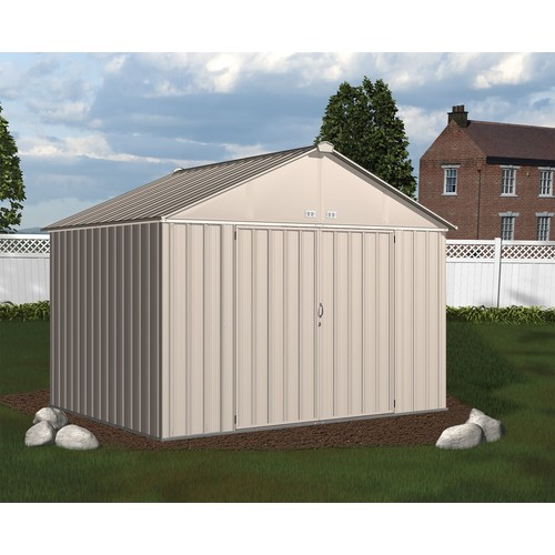 Arrow EZ10872HVCR 10' x 8' EZEE Shed Galvanized Steel Storage, Extra High Gable - Cream