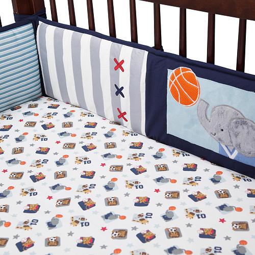 Lambs & Ivy(R) Future All Star Blue/Gray Sports 4 Piece Crib Bumper