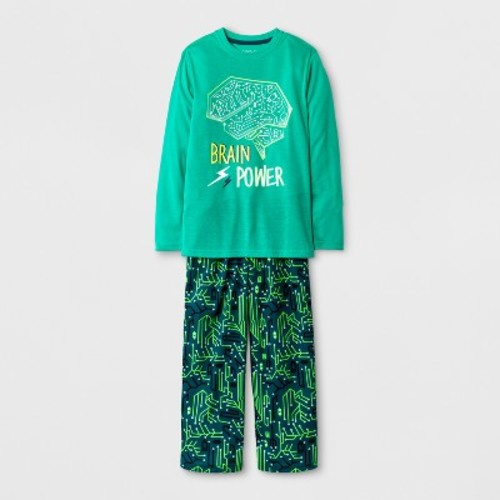 Boys' Long Sleeve Brain Graphic Printed Pajama Set - Cat & Jack Green