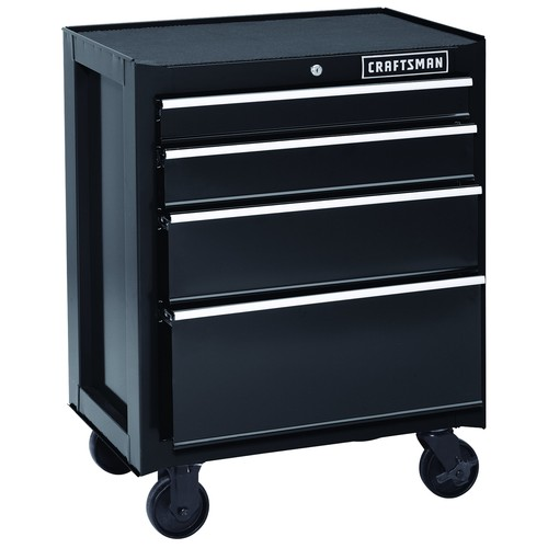 Craftsman 26 in. 4-Drawer Heavy-Duty Ball Bearing Rolling Cabinet - Black