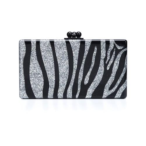 EDIE PARKER Zebra Pattern Rectangular Clutch