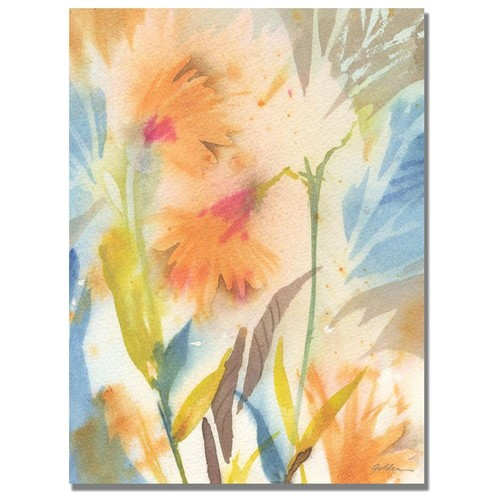 Shelia Golden Tropical Orange Flowers Canvas Art