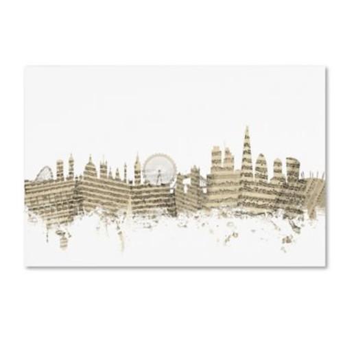 Trademark Fine Art ''London England Skyline Sheet Music'' by Michael Tompsett 22