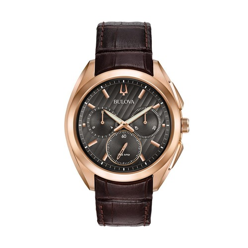 Bulova Men's Chronograph CURV Brown Leather Strap Watch 45mm 97A124