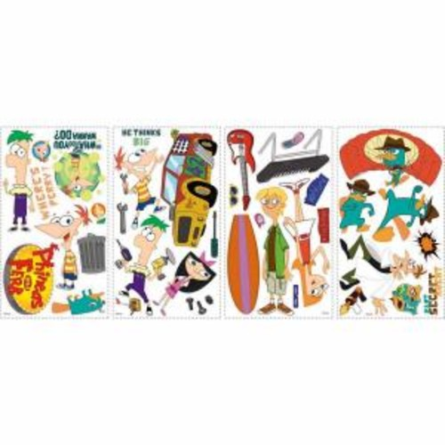 RoomMates 5 in. x 11.5 in. Phineas and Ferb Peel and Stick Wall Decals (37-Piece)