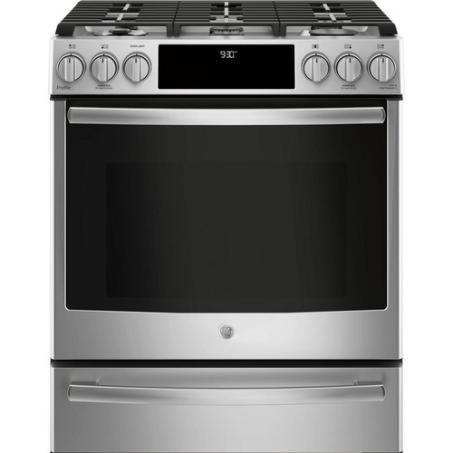 GE Profile 5.6 cu. ft. Slide-In Smart Dual Fuel Range with Self Cleaning and True Convection and WiFi in Stainless Steel