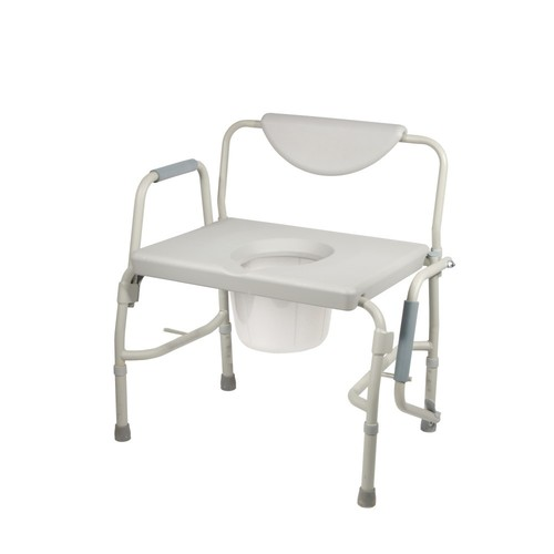 Drive Medical Bariatric Drop Arm Bedside Commode Chair, Grey