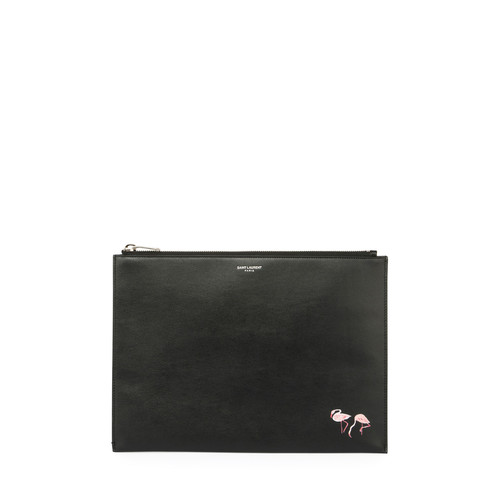 SAINT LAURENT Flamingo-Print Leather Zip-Top Pouch, Black