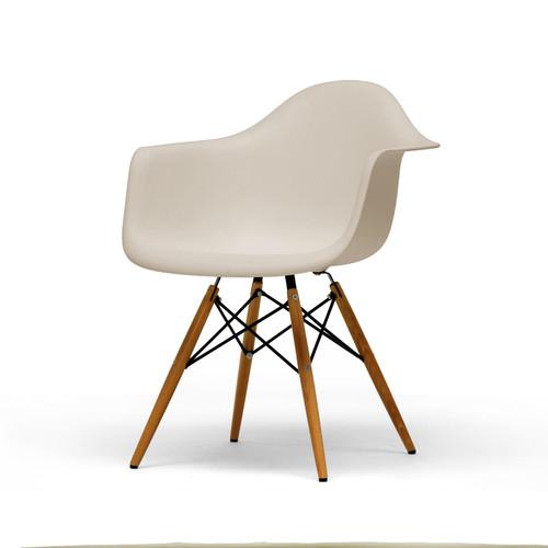 Baxton Studio Set of 2 Pascal Beige Plastic Mid-Century Modern Shell Chair