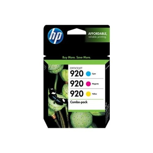 HP Inc. 920 Combo Pack - 3-pack - yellow, cyan, magenta - original - ink cartridge - for Envy 5548; Officejet 252, 6000, 6000 E609a, 6500, 6500 E709a, 6500A, 6500A E710a, 7500A (N9H55FN#140)