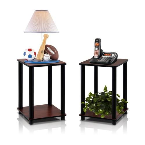 Furinno Turn N Tube Dark Cherry Simple End Table (2-Set)