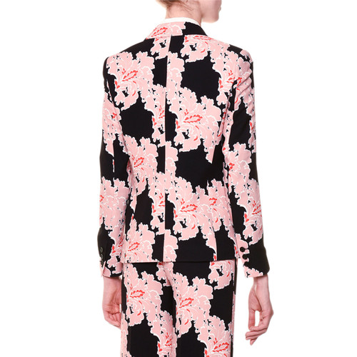 MSGM Lace-Print Double-Breasted Blazer, Multicolor