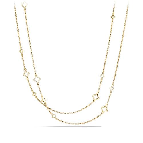 Venetian Quatrefoil Link Chain Necklace with Diamonds in G