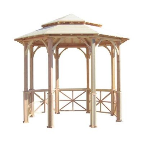 SamsGazebos 10 ft. Octagon English Cottage Garden Gazebo with Two-Tiered Roof - Adjustable for An Uneven Patio