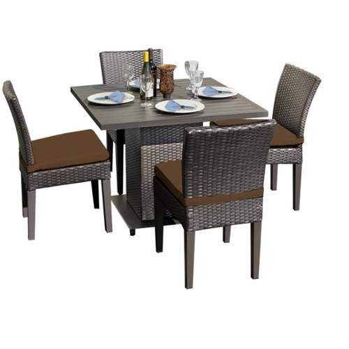 Miseno MPF-NAPASQREKIT4ADCC Wine Country 5-Piece Aluminum Framed Outdoor Dining Set with Square Table and Side Chairs