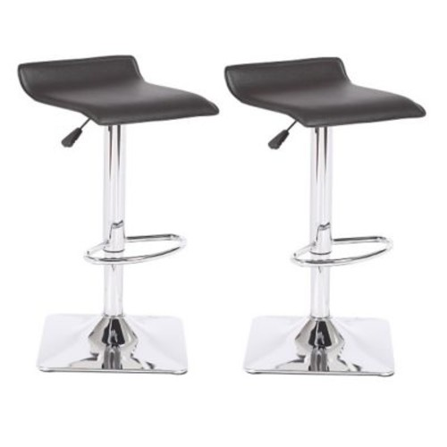 Container Adjustable Height Swivel Bar Stool; Black