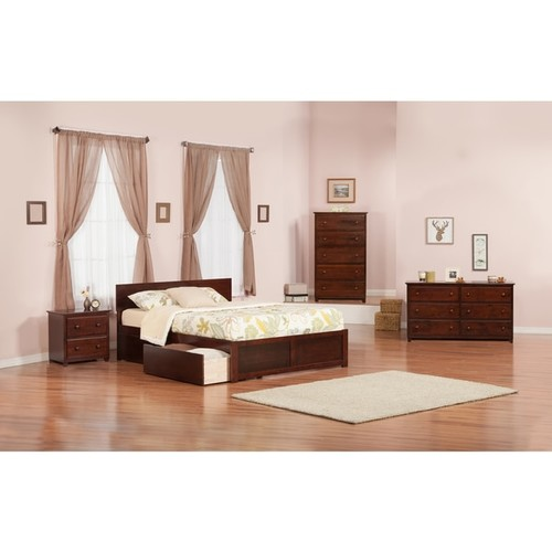Atlantic Orlando Walnut-finished Wood Flat-paneled King Platform Bed With Footboard and 2 Urban Bed Drawers - Size & Color