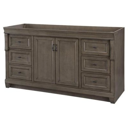 Home Decorators Collection Naples 60 in. W Bath Vanity Cabinet Only in Distressed Grey for Single Bowl