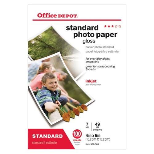 Office Depot Brand Standard Photo Paper, Glossy, 4