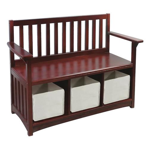 Guidecraft Classic Espresso Storage Bench with Bins - Home Kids Furniture