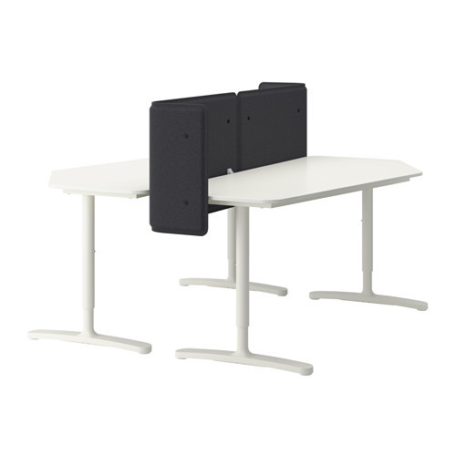BEKANT Desk with screen, white
