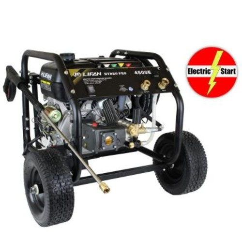 LIFAN Hydro Pro Series 4,500 psi 4.0 GPM AR Tri-Plex Pump Electric Start Gas Pressure Washer with Panel Mounted Controls CARB