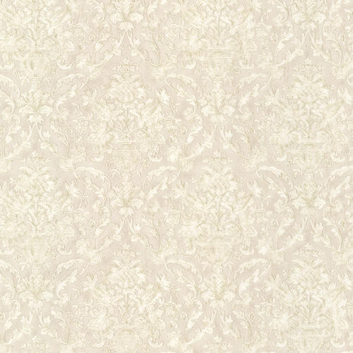 Majestic Taupe Scrolling Damask Wallpaper