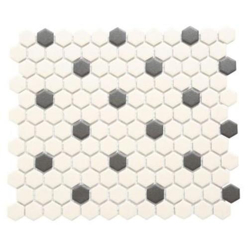 Merola Tile Gotham Hex Antique White with Black Dot 10-1/4 in. x 12 in. x 5 mm Unglazed Porcelain Mosaic Tile (8.54 sq. ft. / case)