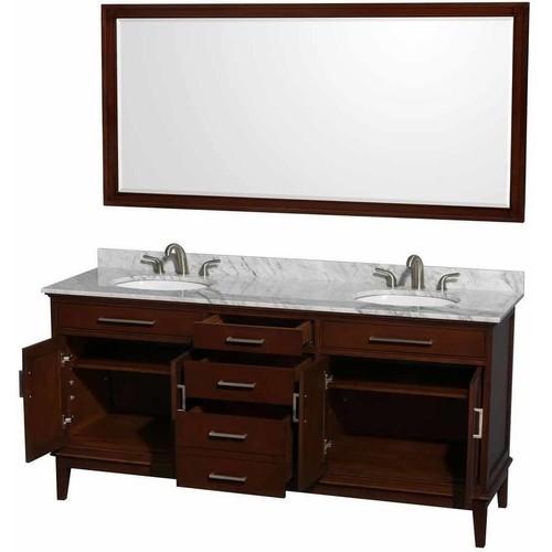 Hatton Collection 72 in Double Bathroom Vanity in Dark Chestnut [WCV161672DCDCMUNRM70]