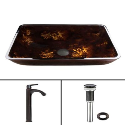 VIGO Glass Vessel Sink in Brown and Gold Fusion and Linus Faucet Set in Antique Rubbed Bronze