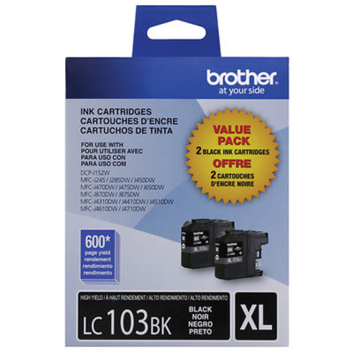 Brother LC103XL Black Ink Cartridges, 2 Pack