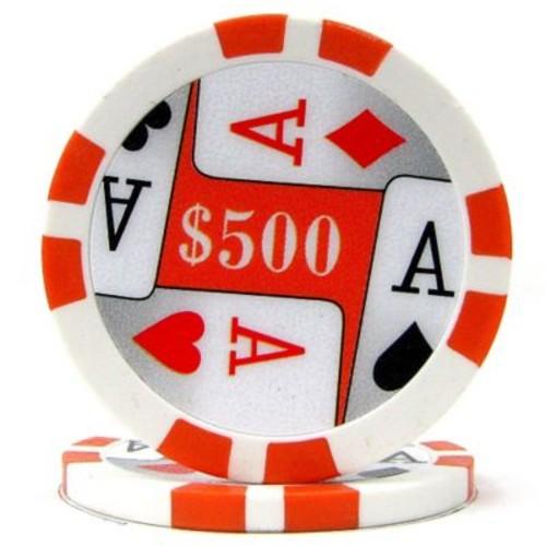 Trademark Poker 11.5g 4 Aces Premium $500 Poker Chips, Orange, 50/Set