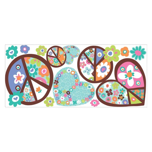 RoomMates RMK1621GM Heart & Peace Sign Peel & Stick Giant Wall Decal