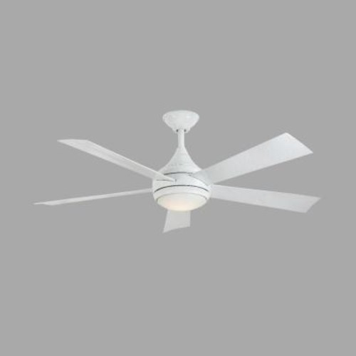 Home Decorators Collection Hanlon 52 in. LED Indoor/Outdoor Stainless Steel Glossy White Ceiling Fan with Light Kit and Remote Control