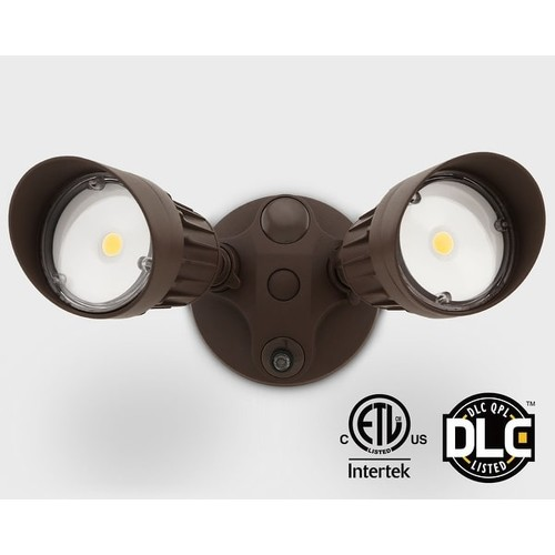 20W Dual-Head Dusk to Dawn LED Outdoor Security Light, Photocell, 5000K Daylight,Bronze