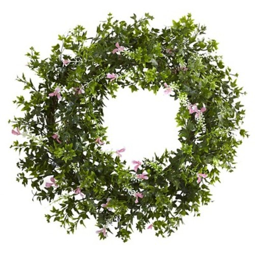 Nearly Natural 18 Mini Ivy u0026 Floral Double Ring Wreath w/Twig Base