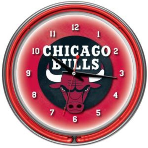Trademark Global 14 in. Chicago Bulls NBA Chrome Double Ring Neon Wall Clock