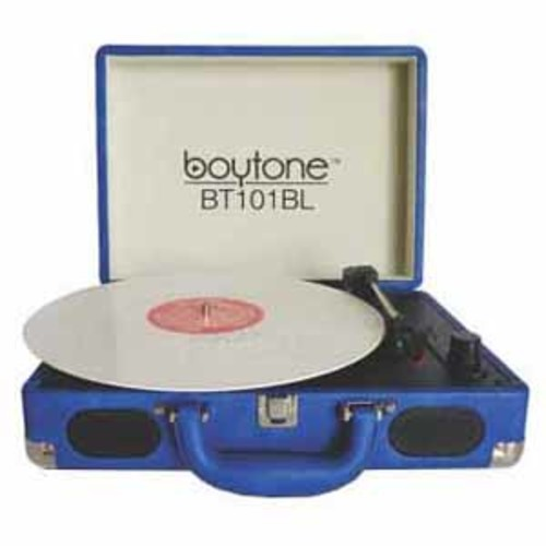 Boytone Exclusive Mobile Briefcase Bluetooth Turntable - Blue