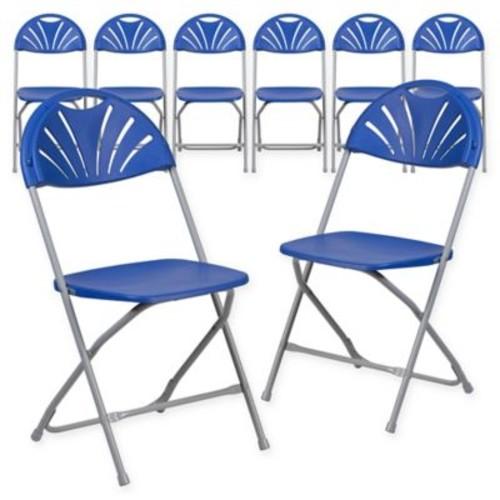Flash Furniture Fan Back Plastic Folding Chairs (Set of 8)
