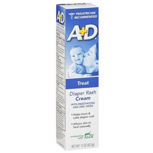 A+D Diaper Rash Cream, Zinc Oxide, with Aloe 1.50 oz (Pack of 6)