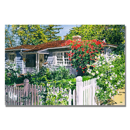 Trademark Global David Lloyd Glover 'Rose Cottage' Canvas Art [Overall Dimensions : 18x24]