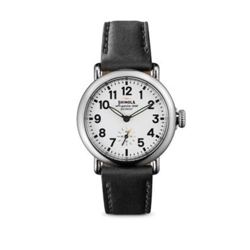 Runwell Stainless Steel & Leather Strap Watch/Black