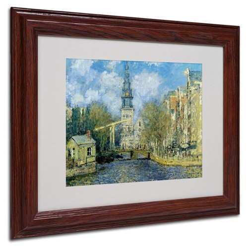 Claude Monet 'The Zuiderkerk at Amsterdam' Framed Matted Art - 11x14 Inches - Wood Frame