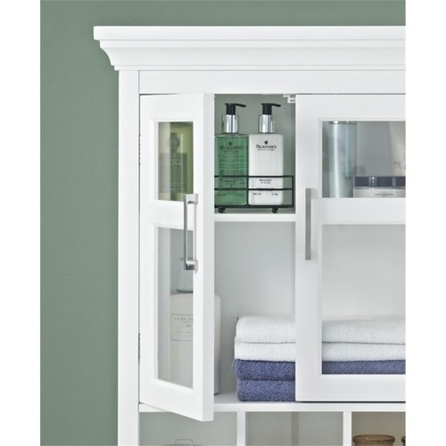Simpli Home Avington 23-63/100 in. W x 30 in. H x 10 in. D Bathroom Storage Wall Cabinet with 2 Tempered Glass Doors in White