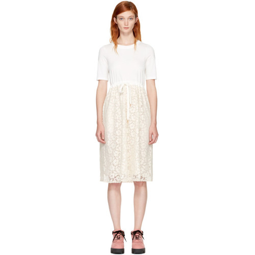 SEE BY CHLOÉ White Lace & Cotton Dress